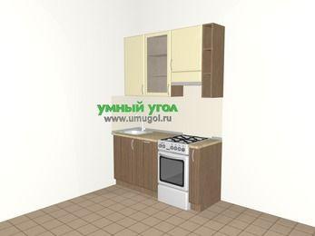 Прямая кухня МДФ матовый 5,0 м², 1600 мм (зеркальный проект), Ваниль / Лиственница бронзовая, верхние модули 920 мм, посудомоечная машина, отдельно стоящая плита