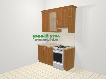 Прямая кухня МДФ матовый в классическом стиле 5,0 м², 160 см (зеркальный проект), Вишня, верхние модули 92 см, посудомоечная машина, отдельно стоящая плита