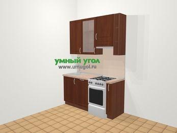 Прямая кухня МДФ матовый в классическом стиле 5,0 м², 160 см (зеркальный проект), Вишня темная, верхние модули 92 см, посудомоечная машина, отдельно стоящая плита