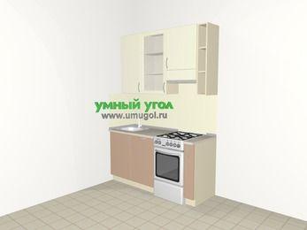 Прямая кухня МДФ глянец 5,0 м², 1600 мм (зеркальный проект), Жасмин / Капучино, верхние модули 920 мм, посудомоечная машина, отдельно стоящая плита