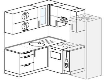 Планировка угловой кухни 5,0 м², 160 на 190 см (зеркальный проект): верхние модули 72 см, отдельно стоящая плита, корзина-бутылочница, холодильник