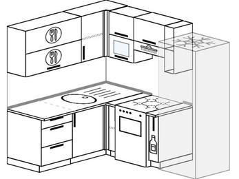 Планировка угловой кухни 5,0 м², 160 на 200 см (зеркальный проект): верхние модули 72 см, отдельно стоящая плита, корзина-бутылочница, холодильник