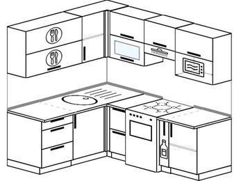 Планировка угловой кухни 5,0 м², 160 на 200 см (зеркальный проект): верхние модули 72 см, отдельно стоящая плита, корзина-бутылочница, верхний модуль под свч