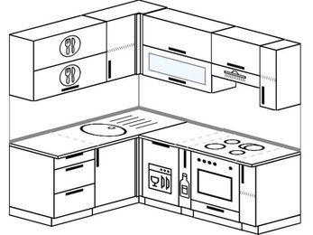 Планировка угловой кухни 5,0 м², 160 на 200 см (зеркальный проект): верхние модули 72 см, посудомоечная машина, корзина-бутылочница, встроенный духовой шкаф