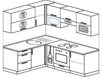 Планировка угловой кухни 5,0 м², 160 на 200 см (зеркальный проект): верхние модули 72 см, корзина-бутылочница, встроенный духовой шкаф, верхний модуль под свч