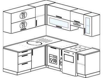Планировка угловой кухни 5,0 м², 160 на 200 см (зеркальный проект): верхние модули 72 см, посудомоечная машина, корзина-бутылочница, отдельно стоящая плита
