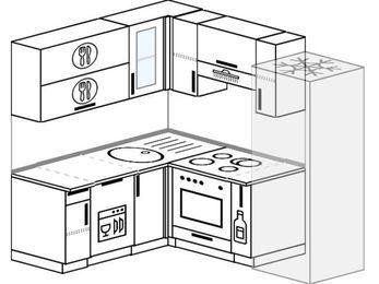 Планировка угловой кухни 5,0 м², 160 на 200 см (зеркальный проект): верхние модули 72 см, посудомоечная машина, встроенный духовой шкаф, корзина-бутылочница, холодильник