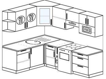 Угловая кухня 5,5 м² (1,6✕2,2 м), верхние модули 72 см, модуль под свч, отдельно стоящая плита