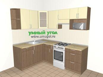 Угловая кухня МДФ матовый 5,5 м², 1600 на 2200 мм (зеркальный проект), Ваниль / Лиственница бронзовая, верхние модули 720 мм, модуль под свч, отдельно стоящая плита