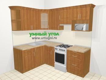 Угловая кухня МДФ матовый в классическом стиле 5,5 м², 1600 на 2200 мм (зеркальный проект), Вишня, верхние модули 720 мм, модуль под свч, отдельно стоящая плита