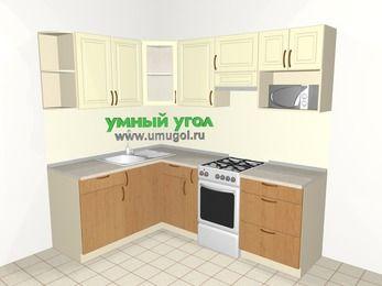 Угловая кухня из МДФ + ЛДСП 5,5 м², 1600 на 2200 мм (зеркальный проект), Ваниль / Ольха, верхние модули 720 мм, модуль под свч, отдельно стоящая плита