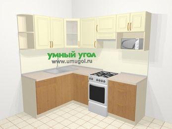 Угловая кухня из ЛДСП EGGER 5,5 м², 160 на 220 см (зеркальный проект), верхние модули 72 см, модуль под свч, отдельно стоящая плита