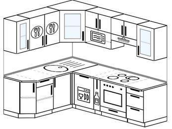 Планировка угловой кухни 5,5 м², 1600 на 2200 мм (зеркальный проект): верхние модули 720 мм, посудомоечная машина, корзина-бутылочница, встроенный духовой шкаф, модуль под свч