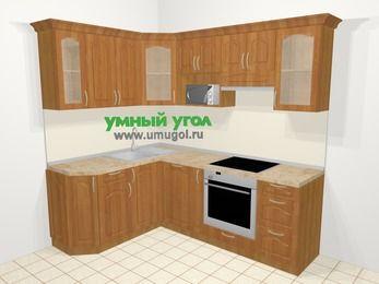 Угловая кухня МДФ матовый в классическом стиле 5,5 м², 160 на 220 см (зеркальный проект), Вишня: верхние модули 72 см, посудомоечная машина, корзина-бутылочница, встроенный духовой шкаф, модуль под свч