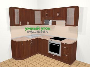 Угловая кухня МДФ матовый в классическом стиле 5,5 м², 160 на 220 см (зеркальный проект), Вишня темная: верхние модули 72 см, посудомоечная машина, корзина-бутылочница, встроенный духовой шкаф, модуль под свч