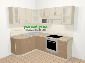 Угловая кухня МДФ матовый в современном стиле 5,5 м², 160 на 220 см (зеркальный проект), Керамик / Кофе: верхние модули 72 см, посудомоечная машина, корзина-бутылочница, встроенный духовой шкаф, модуль под свч