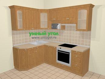Угловая кухня МДФ матовый в стиле кантри 5,5 м², 160 на 220 см (зеркальный проект), Ольха: верхние модули 72 см, посудомоечная машина, корзина-бутылочница, встроенный духовой шкаф, модуль под свч