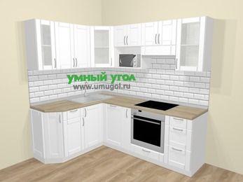 Угловая кухня МДФ матовый  в скандинавском стиле 5,5 м², 160 на 220 см (зеркальный проект), Белый: верхние модули 72 см, посудомоечная машина, корзина-бутылочница, встроенный духовой шкаф, модуль под свч