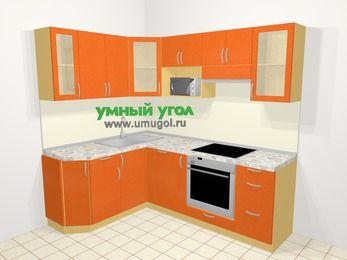 Угловая кухня МДФ металлик в современном стиле 5,5 м², 160 на 220 см (зеркальный проект), Оранжевый металлик: верхние модули 72 см, посудомоечная машина, корзина-бутылочница, встроенный духовой шкаф, модуль под свч