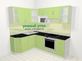 Угловая кухня МДФ металлик в современном стиле 5,5 м², 160 на 220 см (зеркальный проект), Салатовый металлик: верхние модули 72 см, посудомоечная машина, корзина-бутылочница, встроенный духовой шкаф, модуль под свч