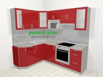 Угловая кухня МДФ глянец в современном стиле 5,5 м², 160 на 220 см (зеркальный проект), Красный: верхние модули 72 см, посудомоечная машина, корзина-бутылочница, встроенный духовой шкаф, модуль под свч