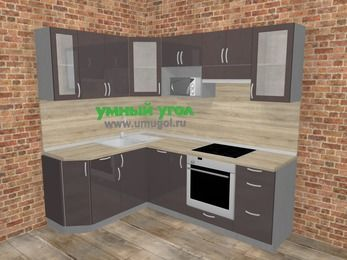 Угловая кухня МДФ глянец в стиле лофт 5,5 м², 160 на 220 см (зеркальный проект), Шоколад: верхние модули 72 см, посудомоечная машина, корзина-бутылочница, встроенный духовой шкаф, модуль под свч