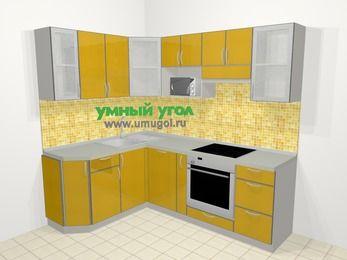 Кухни пластиковые угловые в современном стиле 5,5 м², 160 на 220 см (зеркальный проект), Желтый глянец: верхние модули 72 см, посудомоечная машина, корзина-бутылочница, встроенный духовой шкаф, модуль под свч