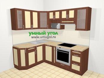 Угловая кухня из рамочного МДФ 5,5 м², 160 на 220 см (зеркальный проект), Вишня темная / Крем: верхние модули 72 см, посудомоечная машина, корзина-бутылочница, встроенный духовой шкаф, модуль под свч