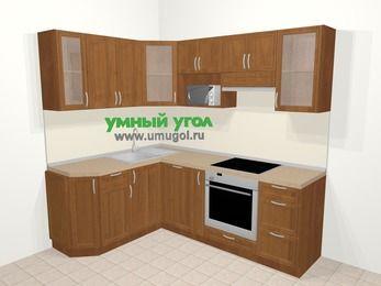 Угловая кухня из рамочного МДФ 5,5 м², 160 на 220 см (зеркальный проект), Орех: верхние модули 72 см, посудомоечная машина, корзина-бутылочница, встроенный духовой шкаф, модуль под свч