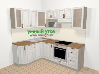 Угловая кухня МДФ патина в классическом стиле 5,5 м², 160 на 220 см (зеркальный проект), Лиственница белая: верхние модули 72 см, посудомоечная машина, корзина-бутылочница, встроенный духовой шкаф, модуль под свч