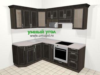 Угловая кухня МДФ патина в классическом стиле 5,5 м², 160 на 220 см (зеркальный проект), Венге: верхние модули 72 см, посудомоечная машина, корзина-бутылочница, встроенный духовой шкаф, модуль под свч