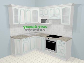 Угловая кухня МДФ патина в стиле прованс 5,5 м², 160 на 220 см (зеркальный проект), Лиственница белая: верхние модули 72 см, посудомоечная машина, корзина-бутылочница, встроенный духовой шкаф, модуль под свч