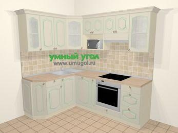 Угловая кухня МДФ патина в стиле прованс 5,5 м², 160 на 220 см (зеркальный проект), Керамик: верхние модули 72 см, посудомоечная машина, корзина-бутылочница, встроенный духовой шкаф, модуль под свч