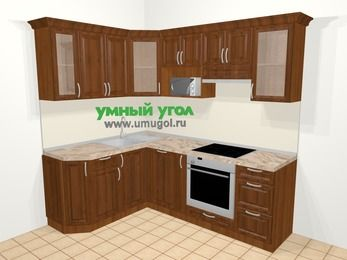 Угловая кухня из массива дерева в классическом стиле 5,5 м², 160 на 220 см (зеркальный проект), Темно-коричневые оттенки: верхние модули 72 см, посудомоечная машина, корзина-бутылочница, встроенный духовой шкаф, модуль под свч