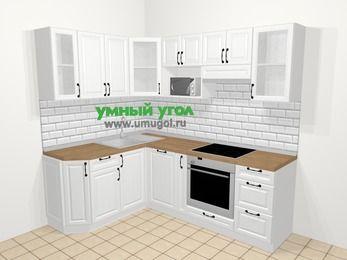 Угловая кухня из массива дерева в скандинавском стиле 5,5 м², 160 на 220 см (зеркальный проект), Белые оттенки: верхние модули 72 см, посудомоечная машина, корзина-бутылочница, встроенный духовой шкаф, модуль под свч