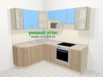Угловая кухня из ЛДСП EGGER 5,5 м², 160 на 220 см (зеркальный проект), Голубой / Дуб: верхние модули 72 см, посудомоечная машина, корзина-бутылочница, встроенный духовой шкаф, модуль под свч