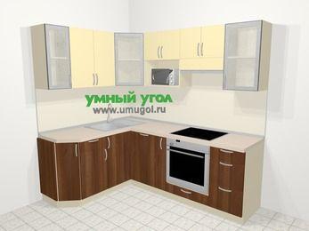 Угловая кухня из ЛДСП EGGER 5,5 м², 160 на 220 см (зеркальный проект), Ваниль / Орех: верхние модули 72 см, посудомоечная машина, корзина-бутылочница, встроенный духовой шкаф, модуль под свч