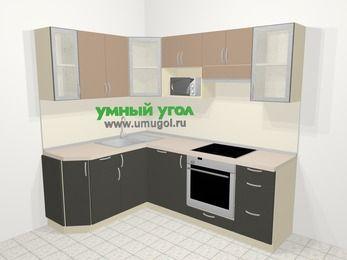 Угловая кухня из ЛДСП EGGER 5,5 м², 160 на 220 см (зеркальный проект), Бежевый / Трюфель: верхние модули 72 см, посудомоечная машина, корзина-бутылочница, встроенный духовой шкаф, модуль под свч