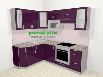 Угловая кухня МДФ глянец в современном стиле 5,5 м², 160 на 220 см (зеркальный проект), Баклажан: верхние модули 72 см, посудомоечная машина, корзина-бутылочница, встроенный духовой шкаф, модуль под свч