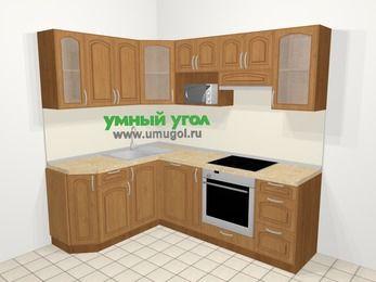 Угловая кухня МДФ патина в классическом стиле 5,5 м², 160 на 220 см (зеркальный проект), Ольха: верхние модули 72 см, посудомоечная машина, корзина-бутылочница, встроенный духовой шкаф, модуль под свч