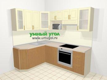 Угловая кухня из МДФ + ЛДСП 5,5 м², 1600 на 2200 мм (зеркальный проект), Ваниль / Ольха, верхние модули 720 мм, посудомоечная машина, модуль под свч, встроенный духовой шкаф