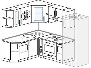 Угловая кухня 5,5 м² (1,6✕2,2 м), верхние модули 72 см, встроенный духовой шкаф, холодильник
