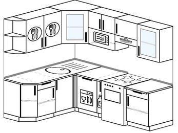 Угловая кухня 5,5 м² (1,6✕2,2 м), верхние модули 72 см, посудомоечная машина, модуль под свч, отдельно стоящая плита