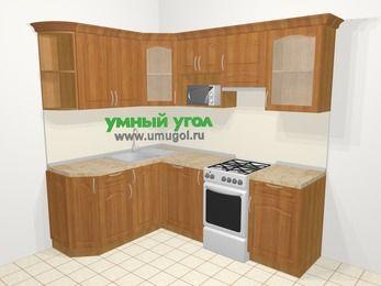 Угловая кухня МДФ матовый в классическом стиле 5,5 м², 1600 на 2200 мм (зеркальный проект), Вишня, верхние модули 720 мм, посудомоечная машина, модуль под свч, отдельно стоящая плита