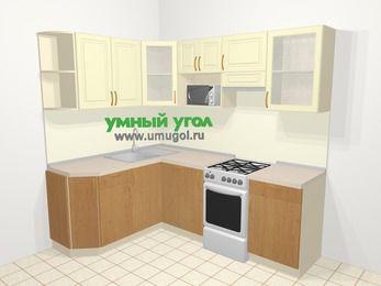 Угловая кухня из МДФ + ЛДСП 5,5 м², 1600 на 2200 мм (зеркальный проект), Ваниль / Ольха, верхние модули 720 мм, посудомоечная машина, модуль под свч, отдельно стоящая плита