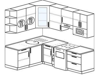 Угловая кухня 5,5 м² (1,6✕2,2 м), верхние модули 920 мм, модуль под свч, отдельно стоящая плита