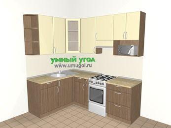 Угловая кухня МДФ матовый 5,5 м², 1600 на 2200 мм (зеркальный проект), Ваниль / Лиственница бронзовая, верхние модули 920 мм, модуль под свч, отдельно стоящая плита