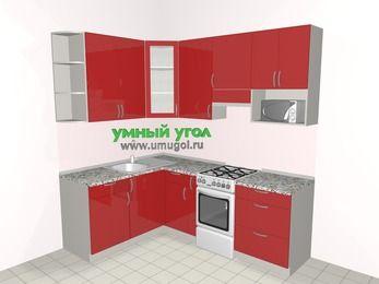 Угловая кухня МДФ глянец 5,5 м², 1600 на 2200 мм (зеркальный проект), Красный, верхние модули 920 мм, модуль под свч, отдельно стоящая плита