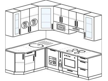 Угловая кухня 5,5 м² (1,6✕2,2 м), верхние модули 920 мм, посудомоечная машина, модуль под свч, встроенный духовой шкаф