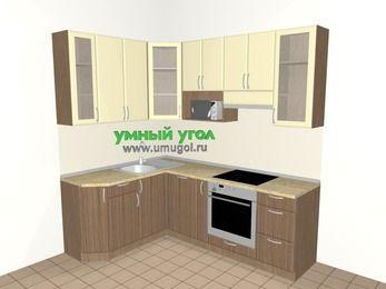 Угловая кухня МДФ матовый 5,5 м², 1600 на 2200 мм (зеркальный проект), Ваниль / Лиственница бронзовая, верхние модули 920 мм, посудомоечная машина, модуль под свч, встроенный духовой шкаф